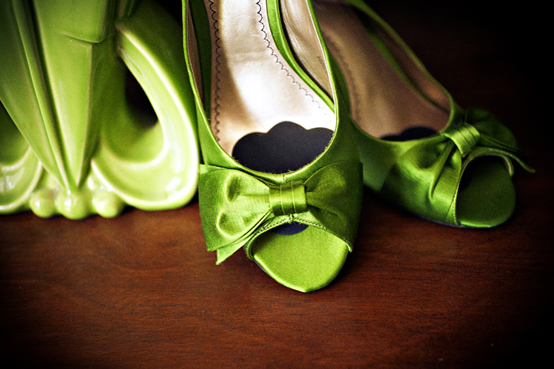 Green satin shoes with open toe and bow