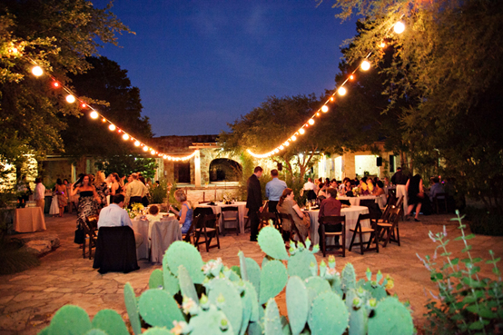 night view of reception for wedding at the Ladybird Johnson Wildflower Center