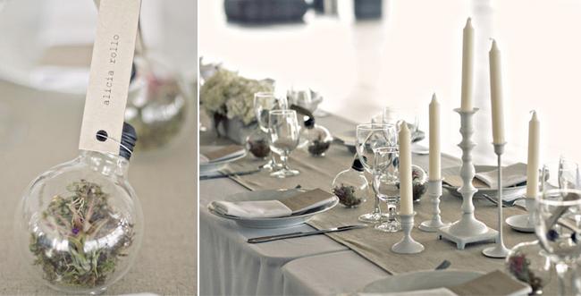 lightbulb terrarium placecards on elegant white table setting