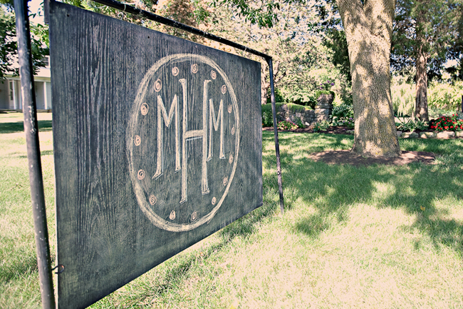 Large custom sign with couple's initials at Overlook Park