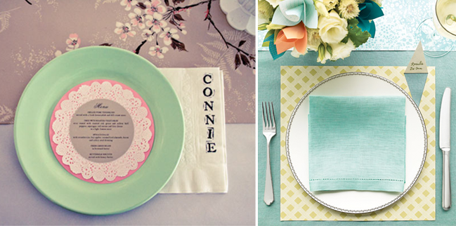 napkin and doily stamped place cards