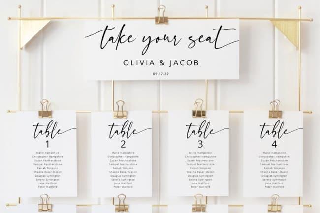 wedding seating chart ideas