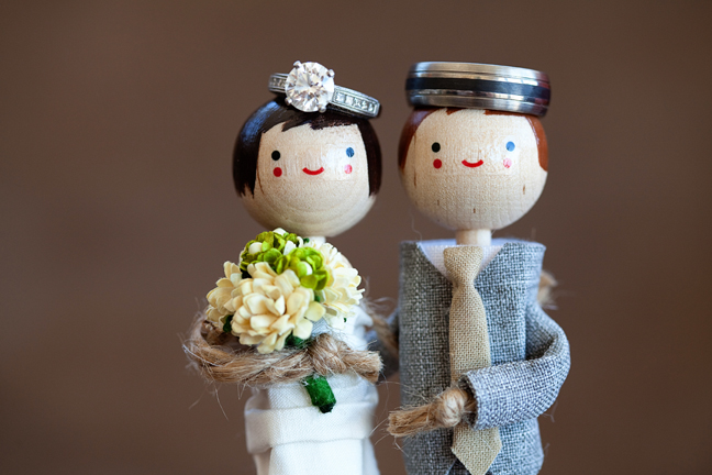 wood caricature bride groom cake toppers