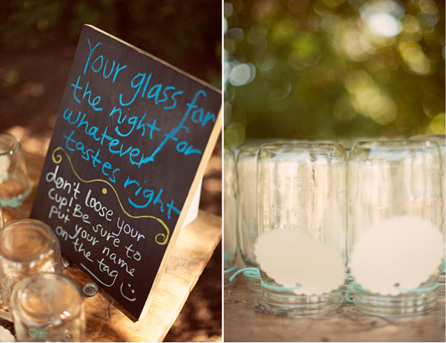 mason jar glasses for the reception