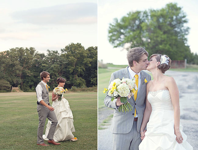 bride and groom walk and kiss on grass
