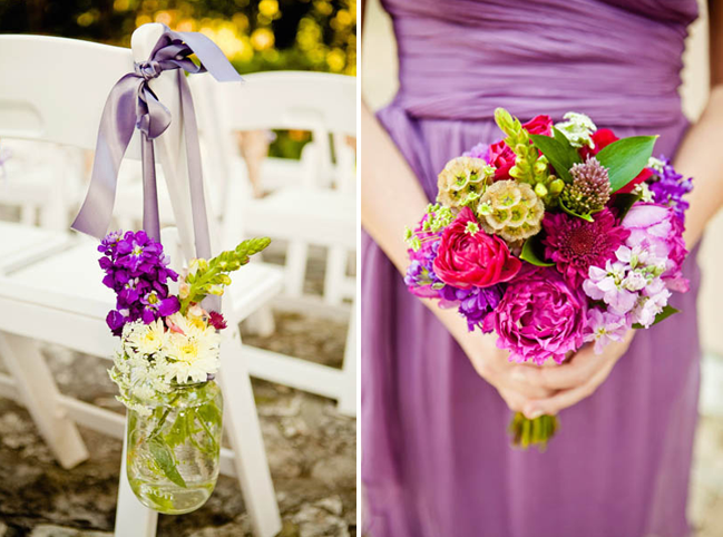 mason jar aisle markers; bridesmaid in purple dress holds bouquet