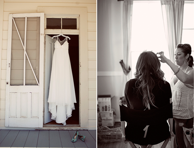 bridal dress haning in doorway of farm house with mint green shoes beneath