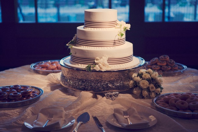 3 tier wedding cake on silver platter