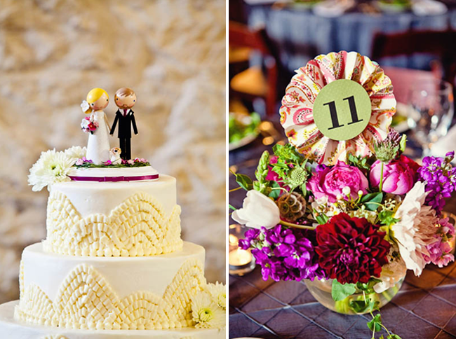wedding cake and pinwheel table numbers