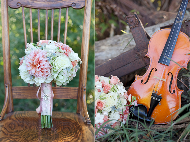Music Themed Styled Shoot - violin and pink bouquet