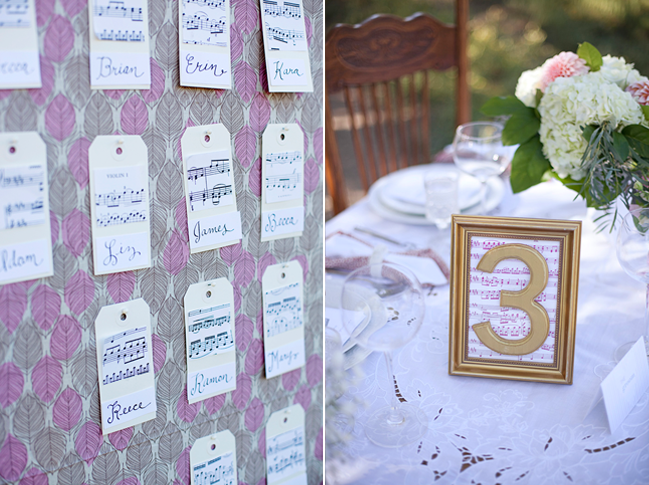 sheet music for the table numbers and the escort cards.