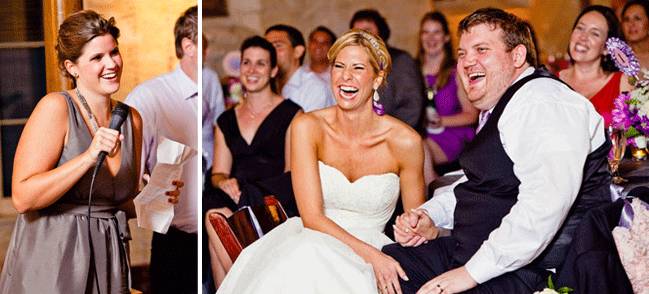 bridesmaid delivers speach to laughing newlyweds