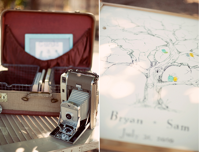 vintage camera and case decor at wedding