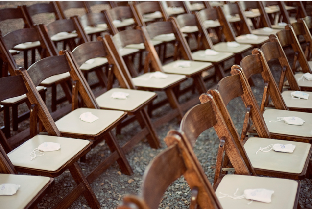 brown foldup chairs for wedding ceremony