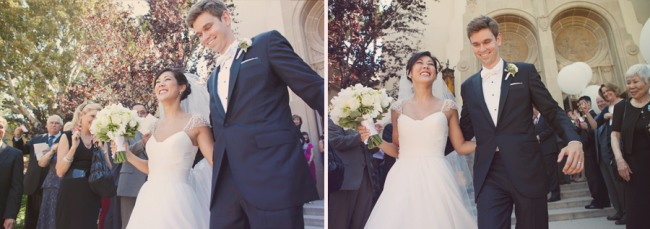 Newlyweds walk down steps of Holy Family Church in Pasadena