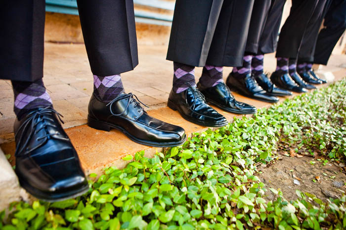 matching groomsmen gray and purple argyle socks