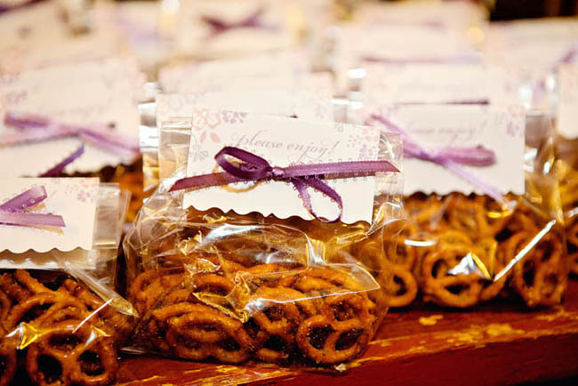 spicy hard pretzels wedding favor bags