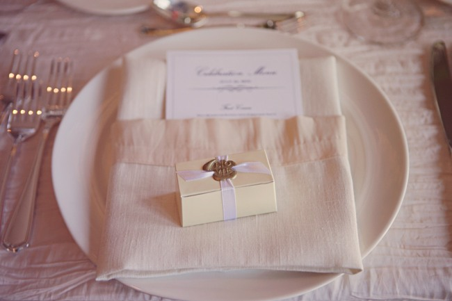 wedding favor box with wax seal