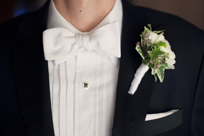 Groom in White Bowtie and tulip boutonniere