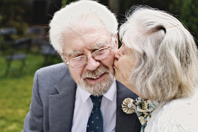 grandparents kiss on the cheek