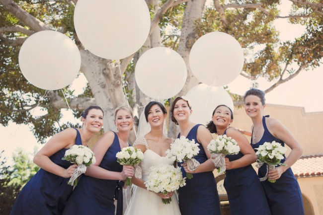 Navy bridesmaid dresses and geronimo balloons