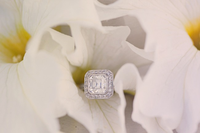 Wedding ring in white flower photo