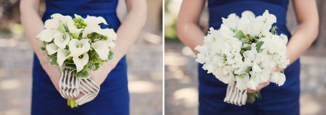 wedding in navy and white color scheme - dresses and bouquets!