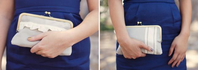 bridesmaid with handmade clutch