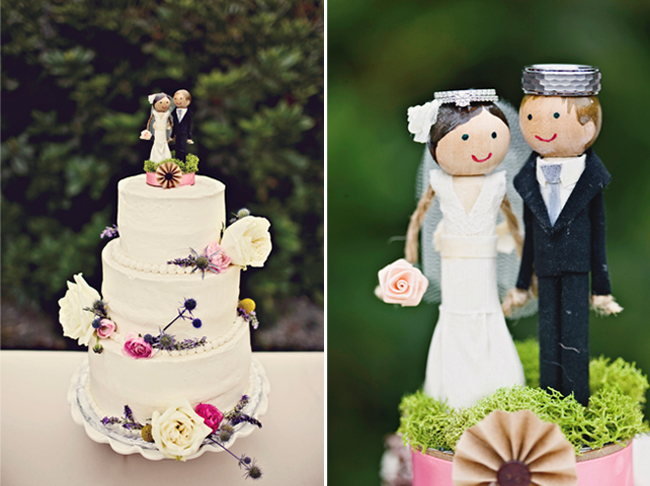 DIY Handmade bride and groom cake topper