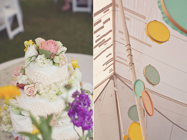 wedding cake with real flowers; DIY project embroidery hoops