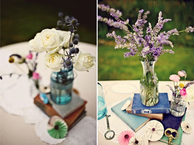 pinwheel and old book centerpiece with flowers