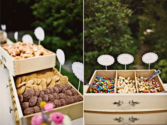 old drawers holding cookies and candy at wedding reception