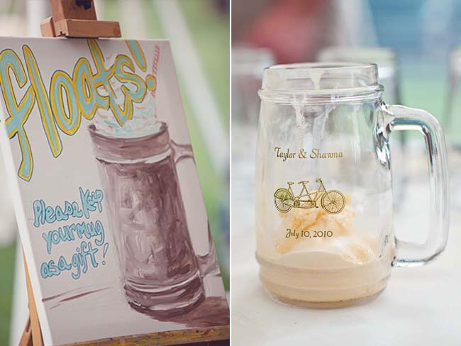 DIY painting on easel; personalized mug with wedding date and names