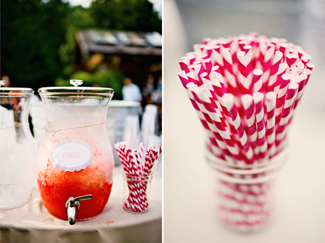 punch pitcher with red twirly straws