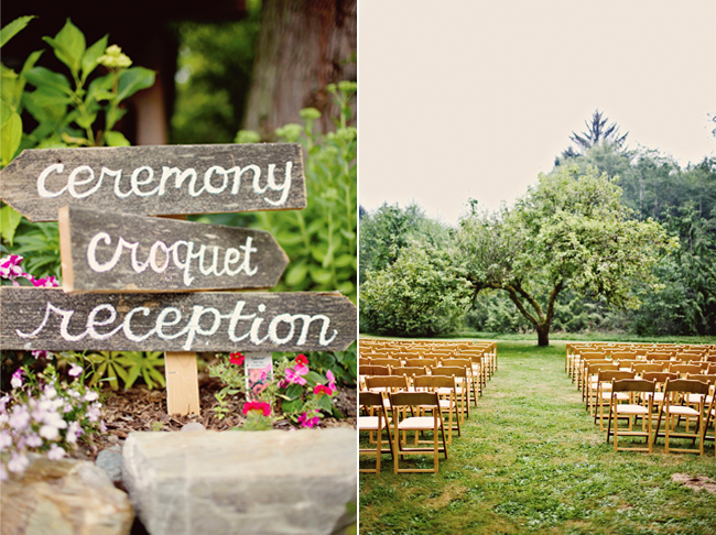 wood direction stakes and outdoor wedding seating