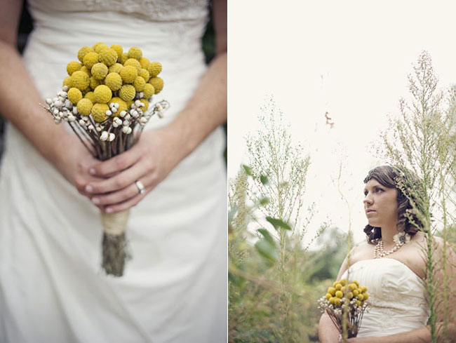 Bride holding an all billy ball bouquet