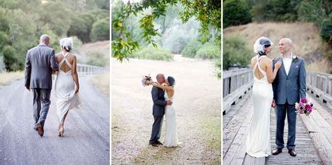 bride and groom taking a romantic walk after their wedding at Sonoma County Ranch