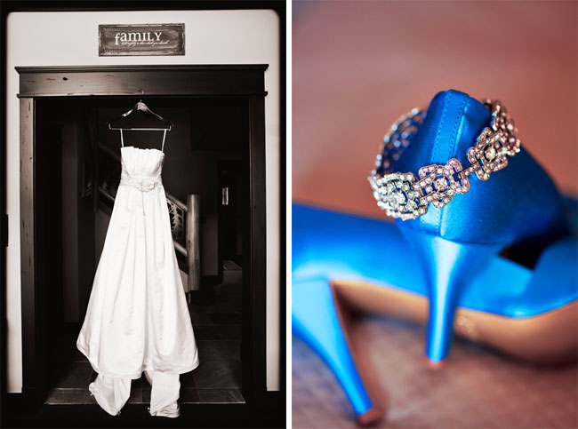 wedding dress hanging from doorway; gorgeous blue heels