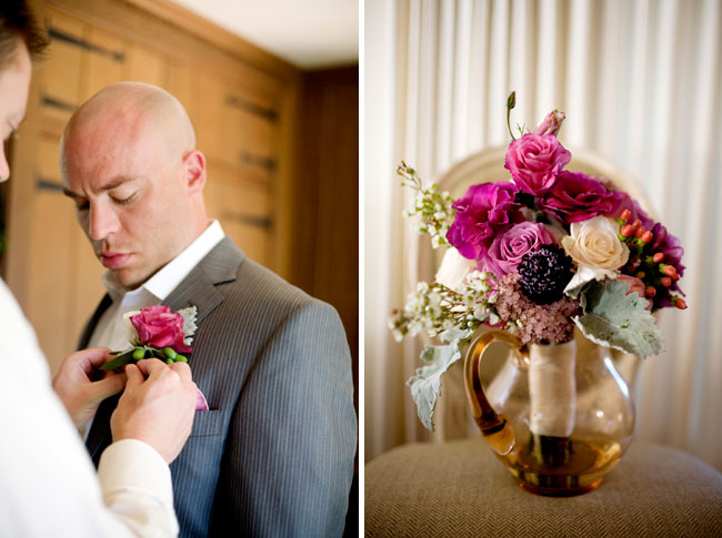 groom having boutonniere pinned on; bride's bouquet