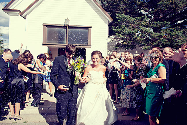recessional with guests throwing lavender seeds