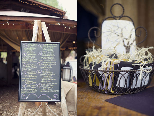 chalkboard table assignments on easel made from wood posts