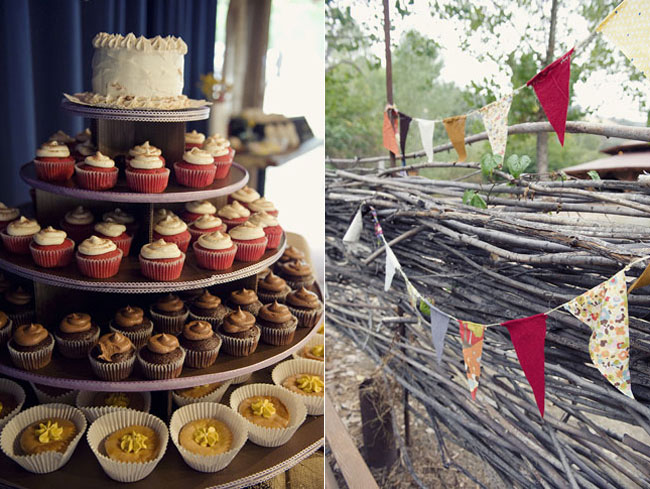 4 tiers of cupcakes with mini wedding cake on top (left), bunting strung up (right)