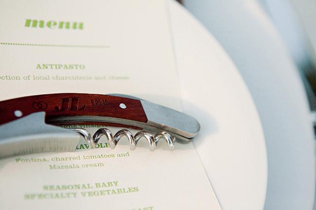 corkscrew on Anvil Vineyard & Ranch wedding menu