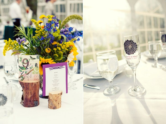 table centrepieces; menu in log holder; keep-sake wine glass