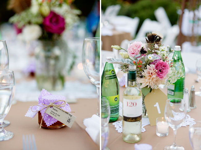 honey-pot favours; reception tables with flower vases