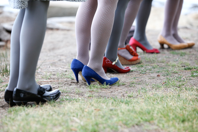 bridesmaids in different colored shoes