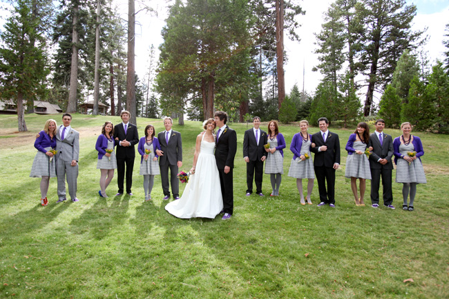bride,groom and wedding party on lawn at Ehrman Mansion
