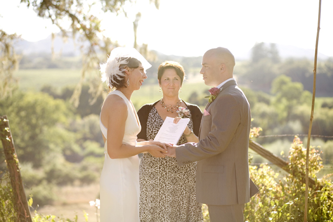 bride and groom with marriage commissioner