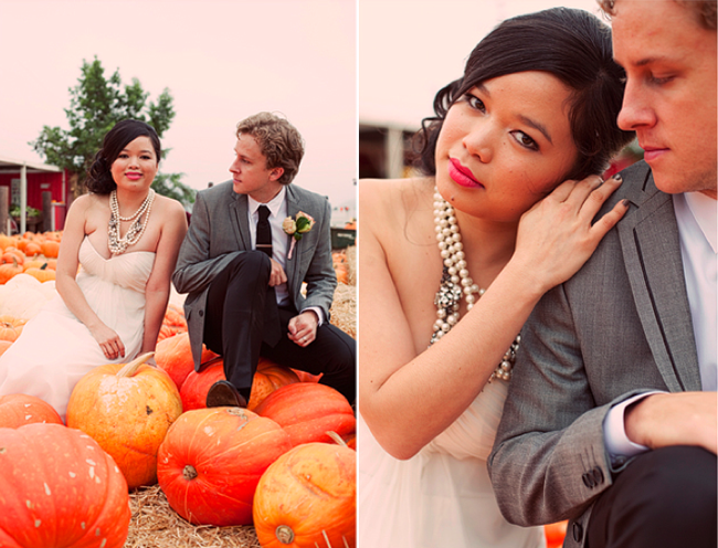 bride and groom sitting on pumpkins in patch