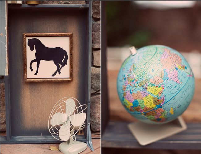 silhouette of horse with vintage fan and globe